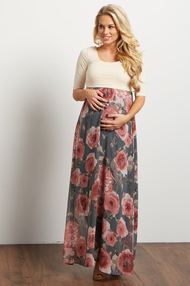 Green Floral Chiffon Colorblock Maternity Maxi Dress
