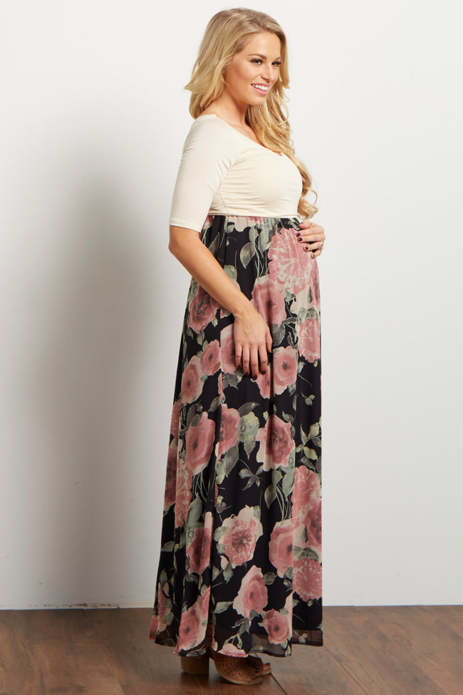 Black Floral Chiffon Colorblock Maternity Maxi Dress