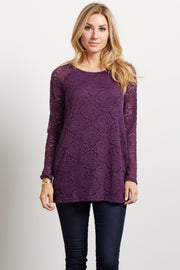 Purple Lace Rosette Overlay Long Sleeve Top