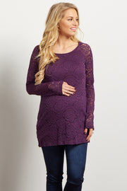 Purple Lace Rosette Overlay Long Sleeve Maternity Top
