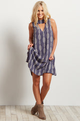 Grey Tribal Cutout Mock Neck Sleeveless Dress