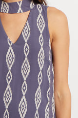 Grey Tribal Cutout Mock Neck Maternity Dress