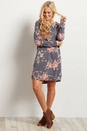 Charcoal Floral Printed Sweater Dress