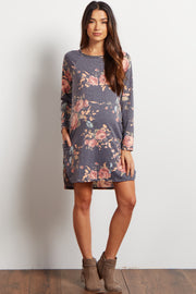 Charcoal Floral Printed Maternity Sweater Dress