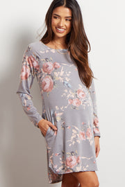 Grey Floral Maternity Sweater Dress