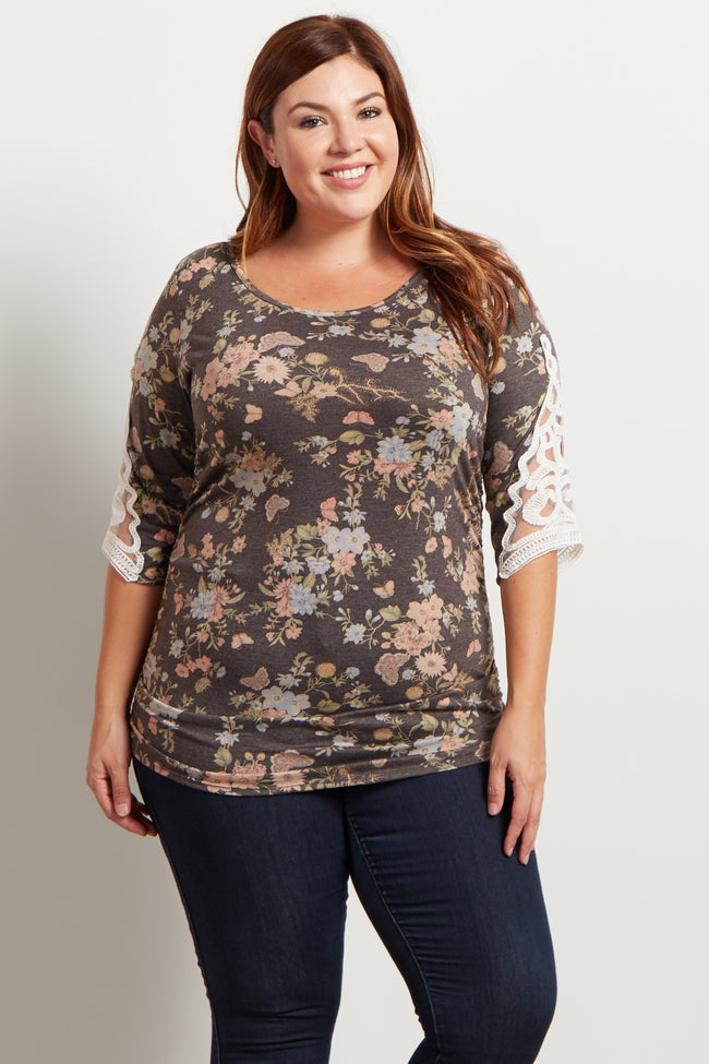 Charcoal Floral Ruched Crochet Sleeve Accent Plus Top