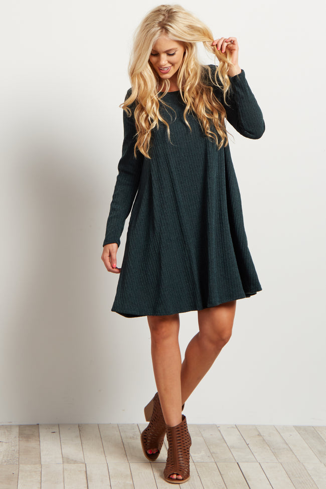 Green Solid Ribbed Long Sleeve Dress