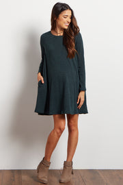 Green Solid Ribbed Maternity Sweater Dress