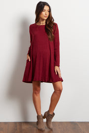 Burgundy Solid Ribbed Maternity Sweater Dress