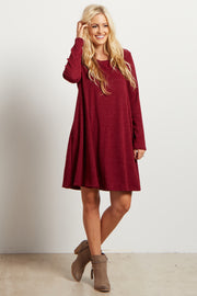 Burgundy Solid Ribbed Long Sleeve Sweater Dress