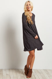 Charcoal Solid Ribbed Long Sleeve Dress