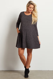 Charcoal Solid Ribbed Long Sleeve Maternity Sweater Dress