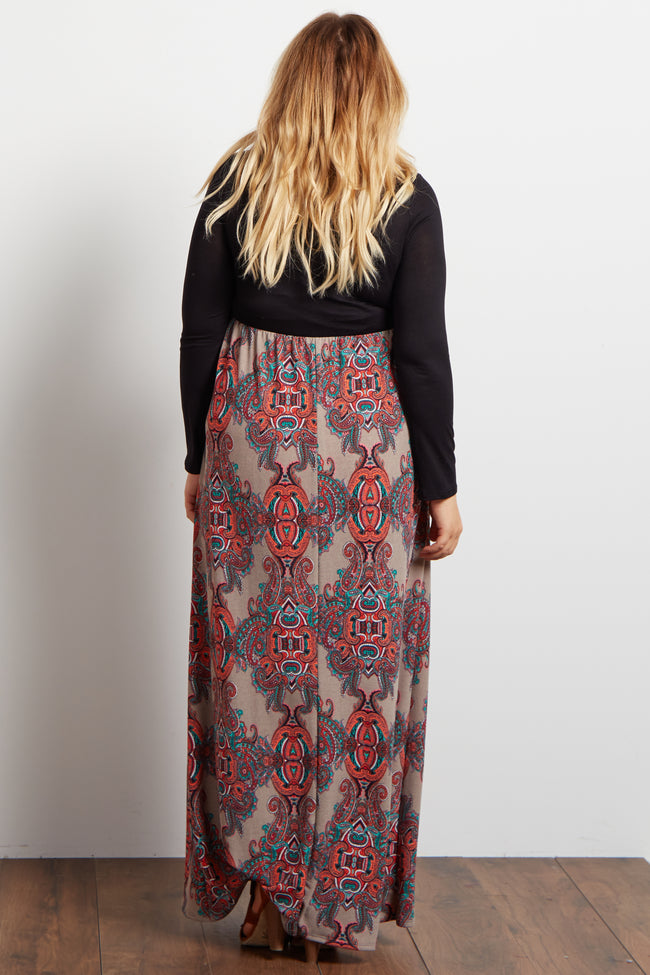 Taupe Paisley Print Knit Bottom Maternity Plus Maxi Dress