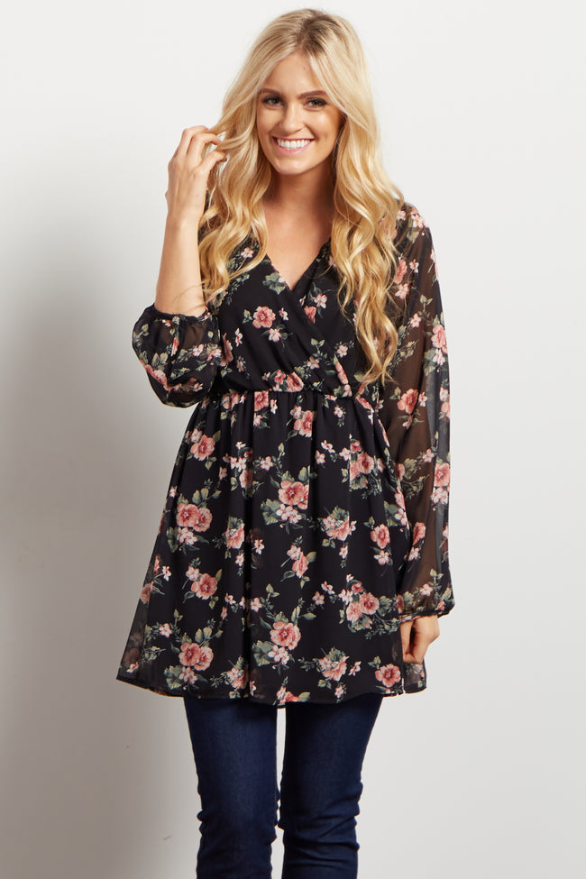 Black Floral Chiffon Wrap Top