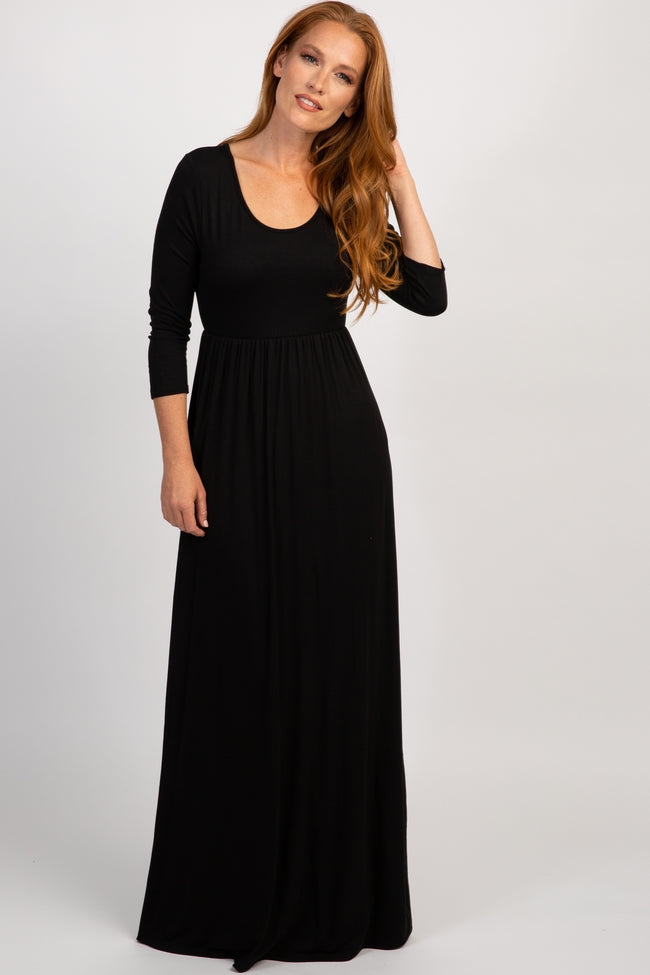 Black 3/4 Sleeve Maternity Maxi Dress