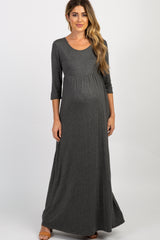 Charcoal 3/4 Sleeve Maternity Maxi Dress