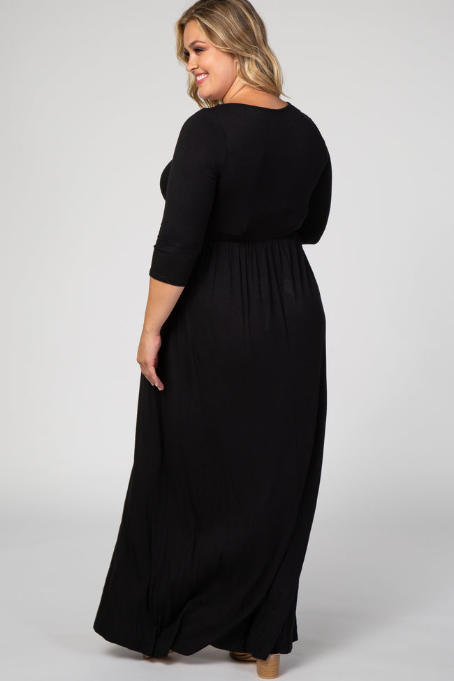 Black 3/4 Sleeve Plus Maternity Maxi Dress