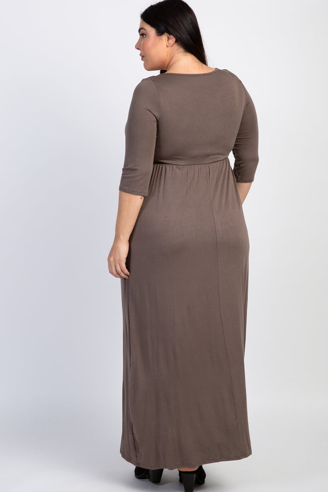 Mocha 3/4 Sleeve Plus Maxi Dress