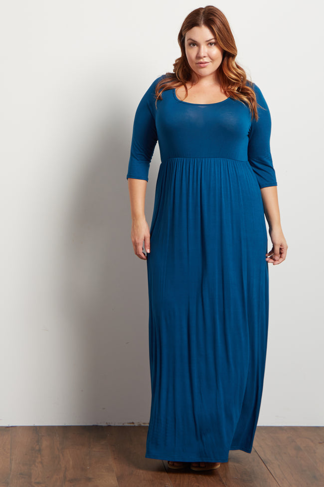 Teal 3/4 Sleeve Plus Size Maxi Dress