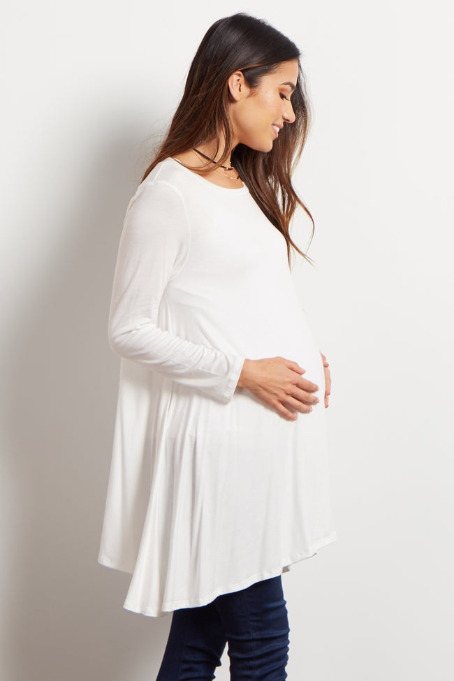 Ivory Solid Cutout Back Long Sleeve Maternity Top