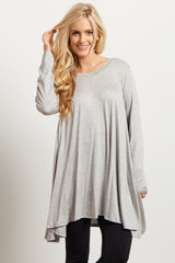 Grey Solid Cutout Back Long Sleeve Top