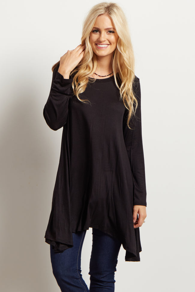 Black Solid Cutout Back Long Sleeve Maternity Top