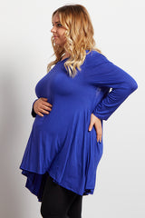 Blue Solid Cutout Back Long Sleeve Maternity Plus Top