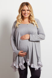 Grey Asymmetrical Chiffon Ruffle Trim Maternity Plus Top