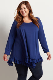 Navy Asymmetrical Chiffon Ruffle Trim Plus Top