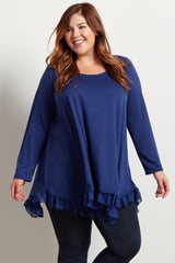 Navy Blue Asymmetrical Chiffon Ruffle Trim Maternity Plus Top