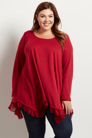 Red Asymmetrical Chiffon Ruffle Trim Plus Top