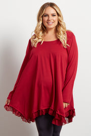 Red Asymmetrical Chiffon Ruffle Trim Maternity Plus Top