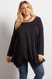 Black Asymmetrical Chiffon Ruffle Trim Maternity Plus Top