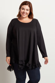 Black Asymmetrical Chiffon Ruffle Trim Plus Top