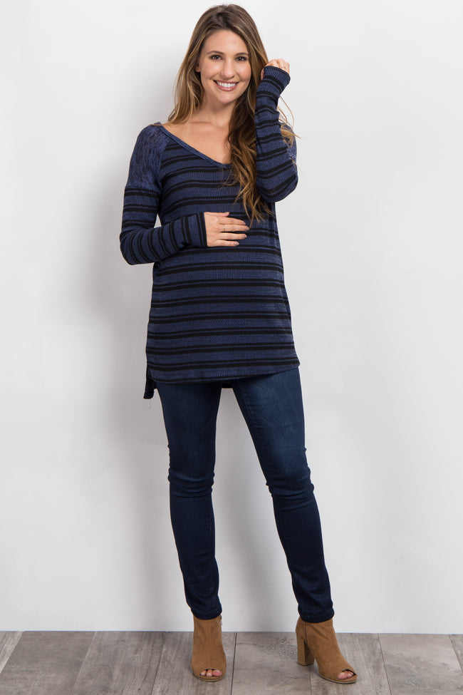 Navy Blue Heathered Striped Knit Maternity Sweater