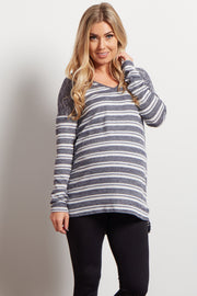 Blue Heathered Striped Knit Maternity Sweater