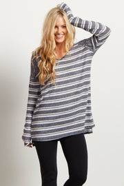 Blue Heathered Striped Knit Sweater