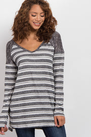 Black Striped Heathered Shoulder Knit Sweater