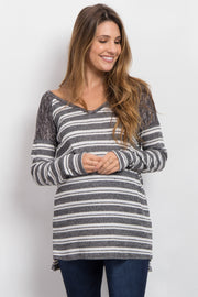 Black Heathered Striped Knit Maternity Sweater
