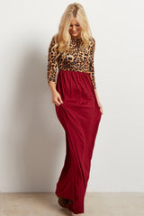 Burgundy Animal Print Colorblock Maternity Maxi Dress