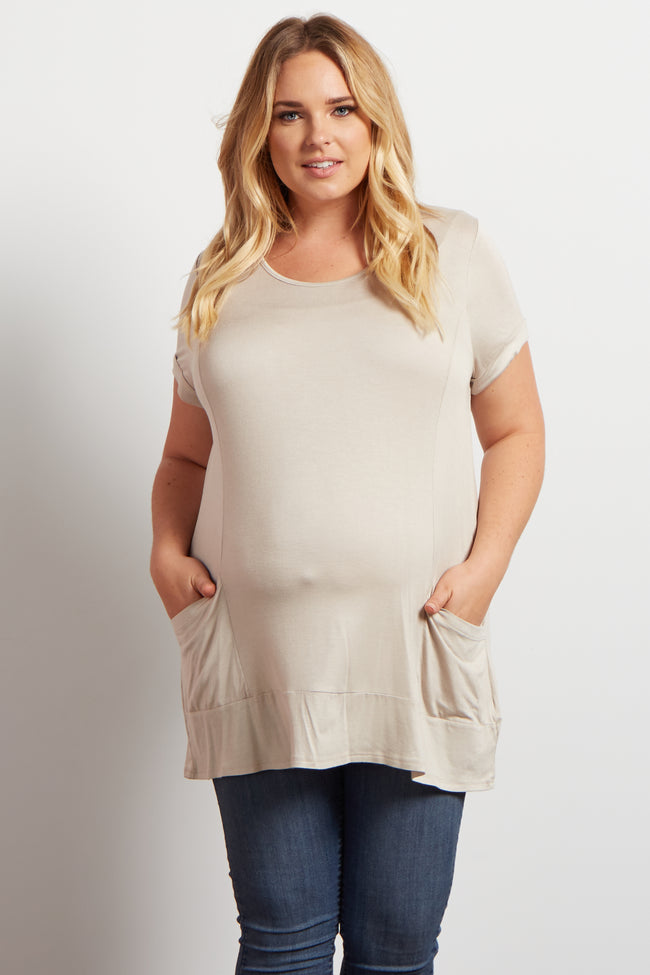 Beige Flowy Pocketed Short Sleeve Maternity Plus Top