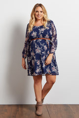 Navy Blue Floral Chiffon Belted Maternity Plus Dress