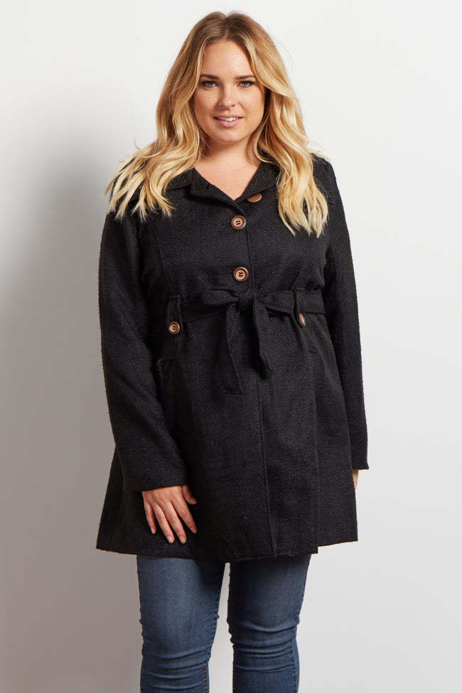 Black Sash Tie Plus Maternity Coat