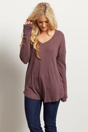 Mauve Solid V Neck Ribbed Top