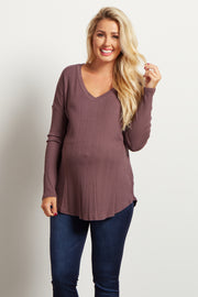 Mauve V Neck Ribbed Maternity Top