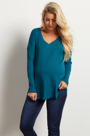 Teal V Neck Ribbed Maternity Top