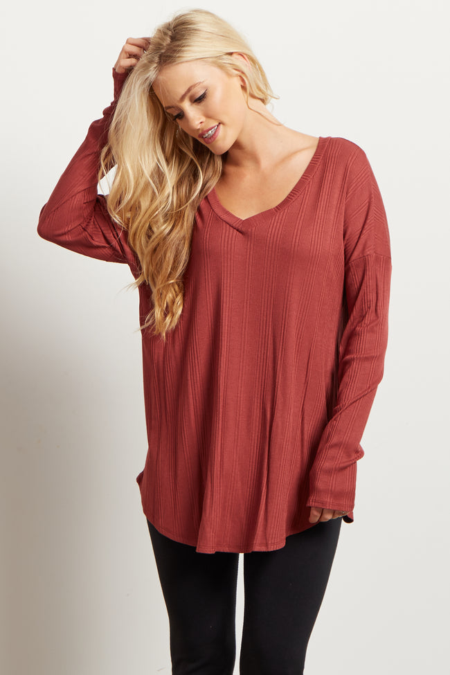 Rust Solid V Neck Ribbed Top