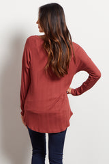 Rust Solid V Neck Ribbed Maternity Top