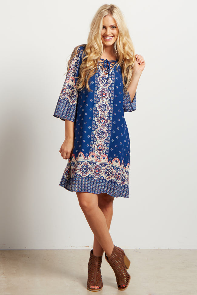 Blue Multi-Colored Printed Lace Up Dress