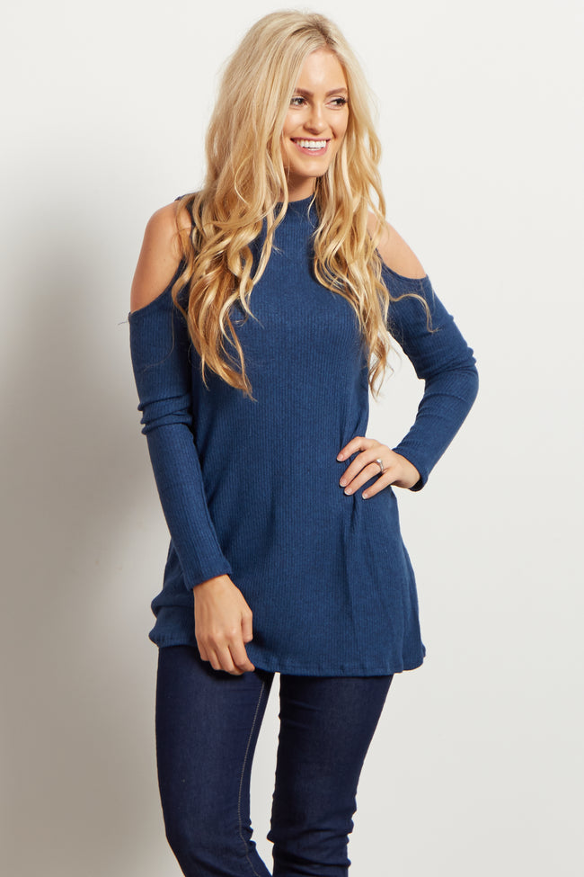 Blue Ribbed Mock Neck Cold Shoulder Knit Top